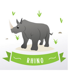 cartoon rhino mascot vector image