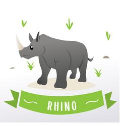 Cartoon rhino mascot vector