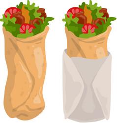 cartoon shawarma burrito or kebab icon vector image
