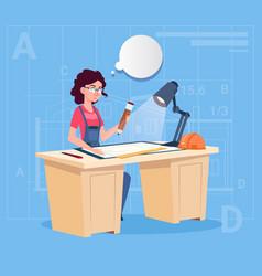 Cartoon woman builder sitting at desk working vector