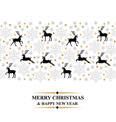 christmas card with deer and snowflakes vector image