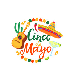 cinco de mayo banner hand drawn lettering 5th of vector image