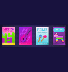 cinco de mayo posters set vector image
