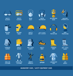 Collection of safety equipment set of safety and vector
