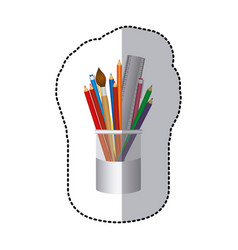 Coloured pencils in jar icon vector