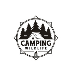 compass and forest camping logo emblem summer vector image