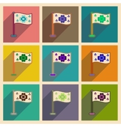 Concept of flat icons with long shadow flag clover vector