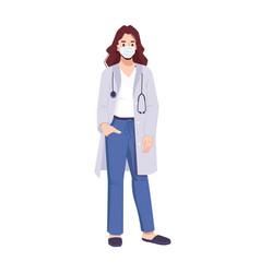 Cool female doctor wearing mask with stethoscope vector