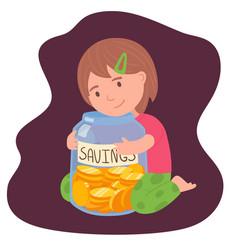 cute brunette little girl holding glass jar vector image