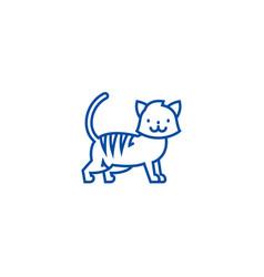 cute cat line icon concept cute cat flat vector image