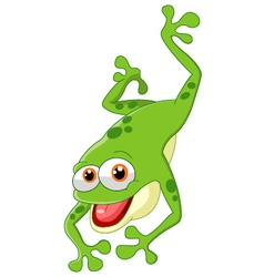Cute frog jumping vector