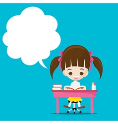 Cute little girl reading a book with speech bouble vector
