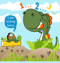 Dinosaurs playing hide and seek kids t shirt vector