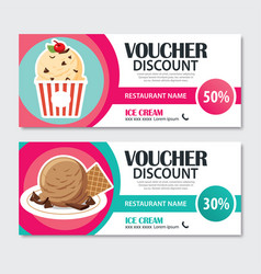 Discount voucher set of ice cream template design vector