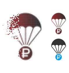 Dissolving pixel halftone rouble rescue icon vector