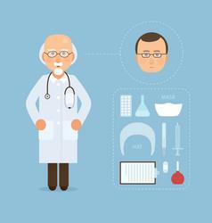 Doctor and medicine tools set modern medical vector