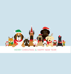 Dogs wearing christmas costume holding banner vector