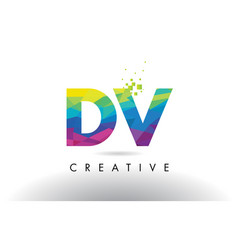 Dv d v colorful letter origami triangles design vector