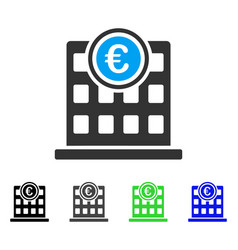 Euro company building flat icon vector