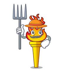 Farmer torch character cartoon style vector