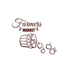 farmers market monochrome emblem vector image