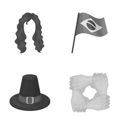 Fashion travel and other monochrome icon in vector