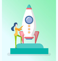 female and spaceship startup progress vector image
