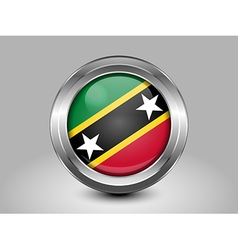 Flag of Saint Kitts and Nevis Metal and Glass Roun vector image