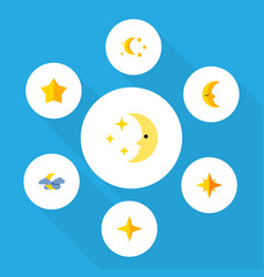 Flat icon midnight set of bedtime starlet moon vector