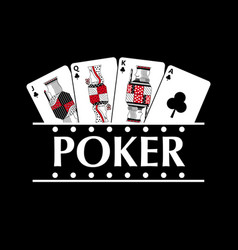 four playing clubs cards poker banner vector image