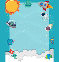 Frame template with many planets in space vector
