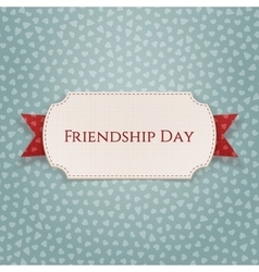 Friendship Day Emblem on red Ribbon vector image