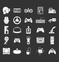 game console icon set grey vector image