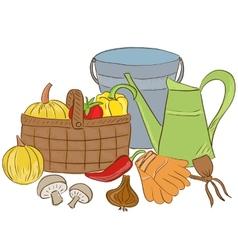 Garden tools and harvest basket vector