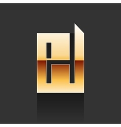 Gold Letter H Shape Logo Element vector image