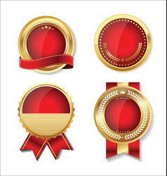 golden empty badge collection vector image