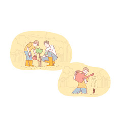 Greening fatherhood childhood care set concept vector