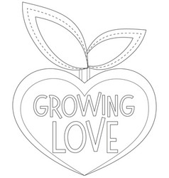 growing love black and white poster with heart vector image