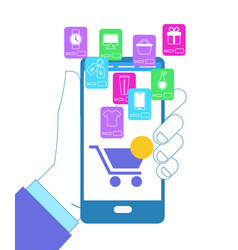 hand holding smartphone with shopcart and icons vector image