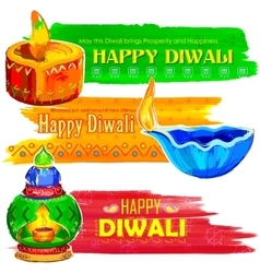Happy Diwali banner coloful watercolor diya vector image