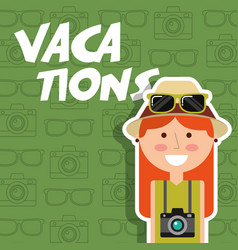 Happy young woman with hat camera vacations green vector