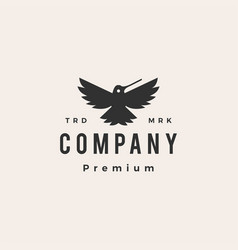 Hummingbird colibri roar hipster vintage logo icon vector