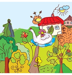 Kid drawing landscape house trees from fairytale vector image