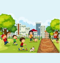 Kids playing at park vector