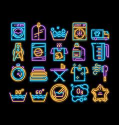 Laundry service neon glow icon vector