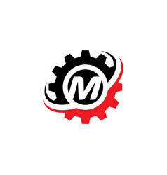 letter m gear logo design template vector image