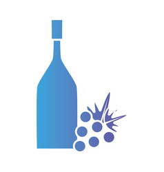line wine bottle with grape fruit vector image