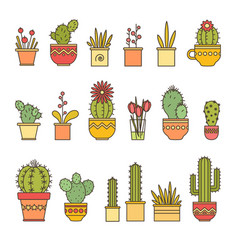 Linear design cacti and flowers in pots elements vector