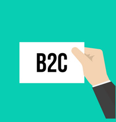 Man showing paper b2c text vector