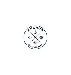 Marine retro emblems logo with anchor symbol ship vector